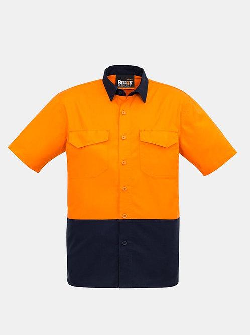 Mens High Vis Spliced Front Short Sleeve Shirt