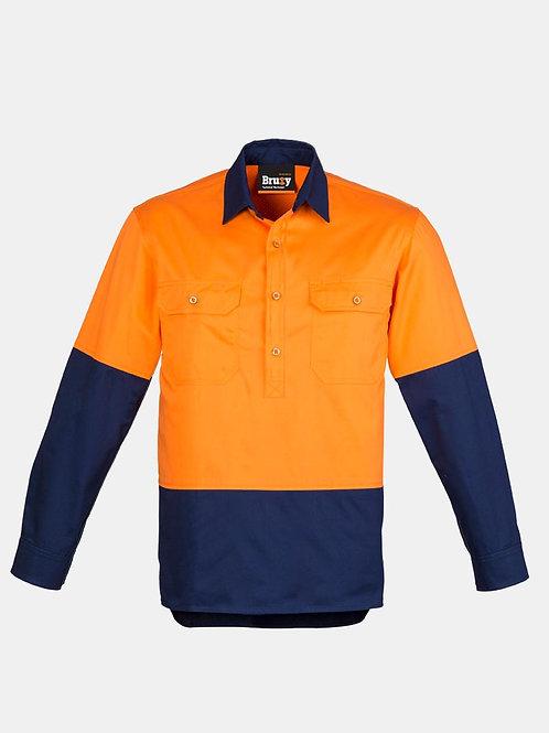 Mens High Vis Closed Front Long Sleeve Shirt