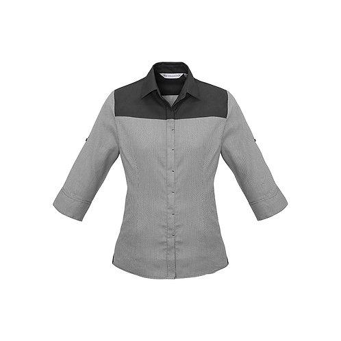 Ladies Havana 3/4 Sleeve Houndstooth Shirt