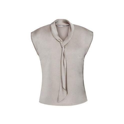 Ladies Shimmer Sleeveless Luxury Satin Neck Tie Top