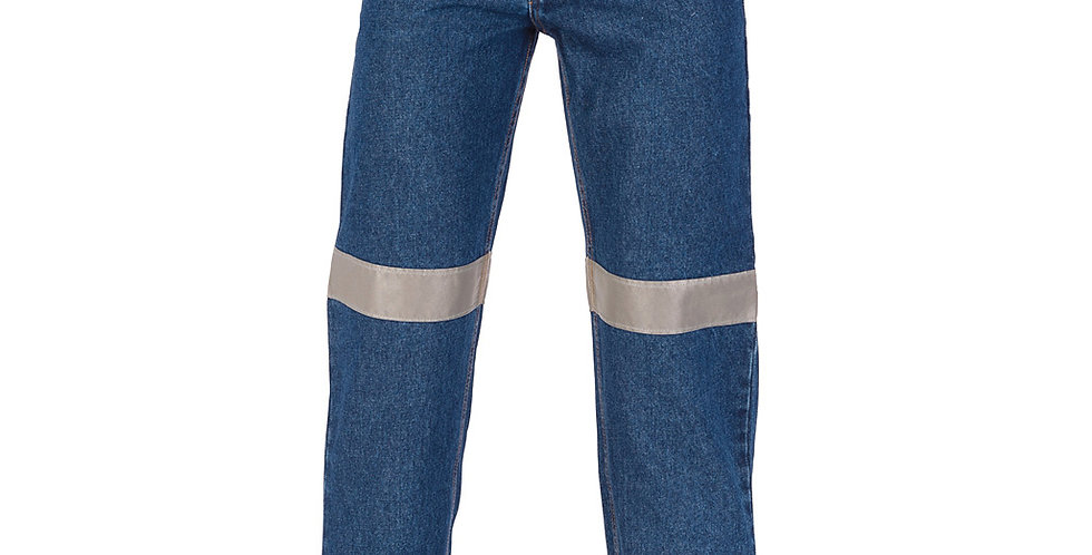 Mens Cotton Denim Jeans Hi-Viz Hoop Taped