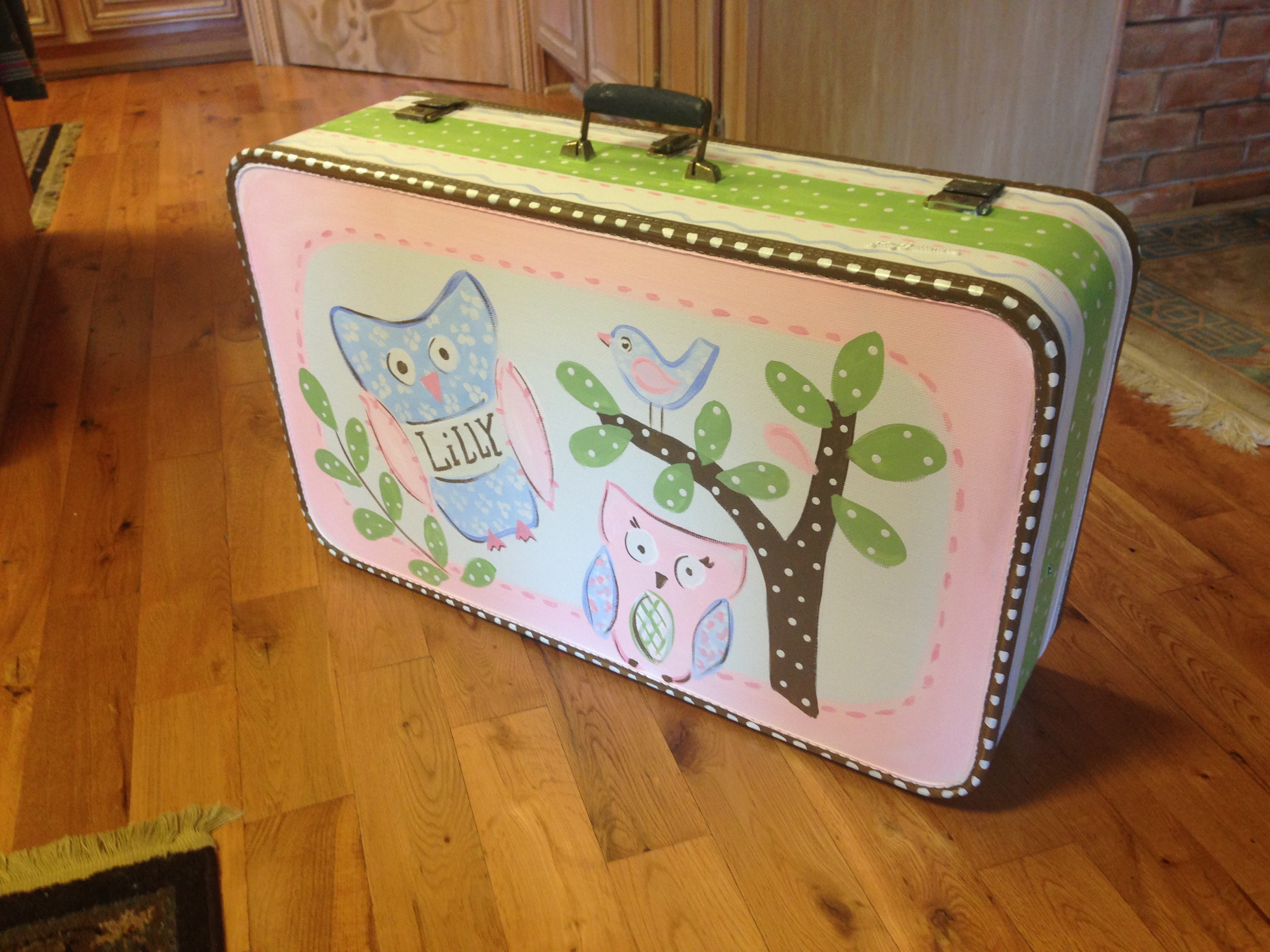 fun suitcase painting