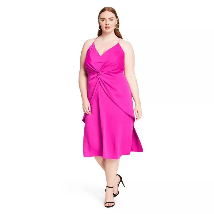 Fuschia twist front dress