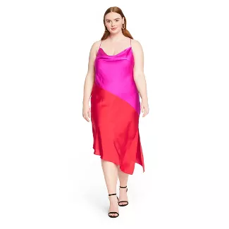 Red & Pink Two Tone Slip Dress