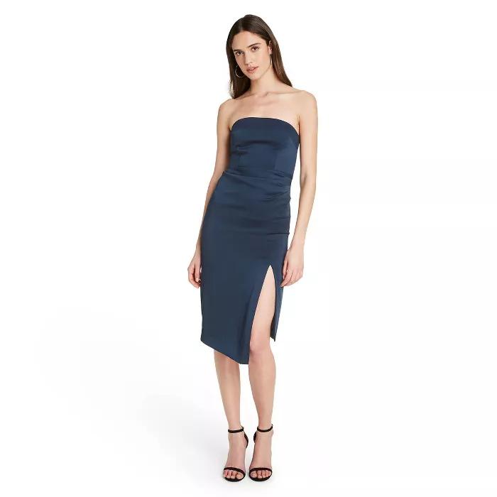 Navy Strapless side slit dress