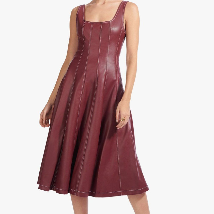 Staud Wells Vegan Leather Dress