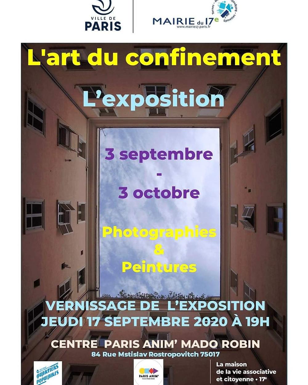 Exposition du 3 septembre au 3 octobre au centre Paris Anim Mado Robin XVIIeme