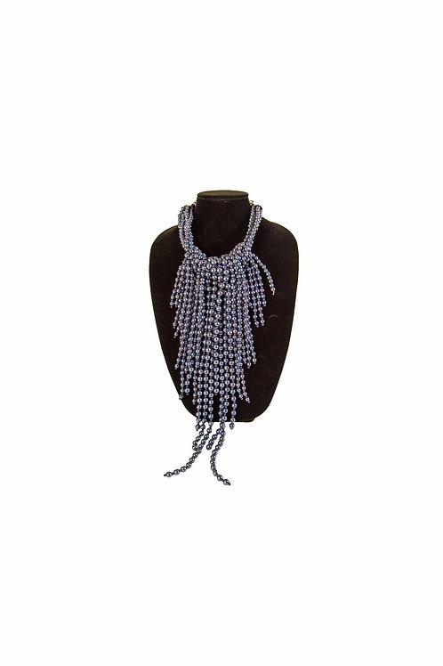 Grey Pearl Bib Necklace