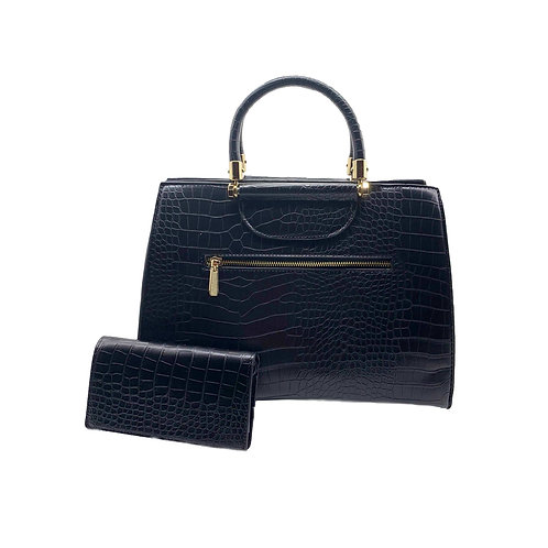 Crocodile Print 3-Compartment Satchel with Wallet