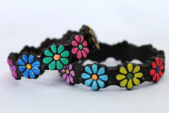 Pulsera Piel Flores