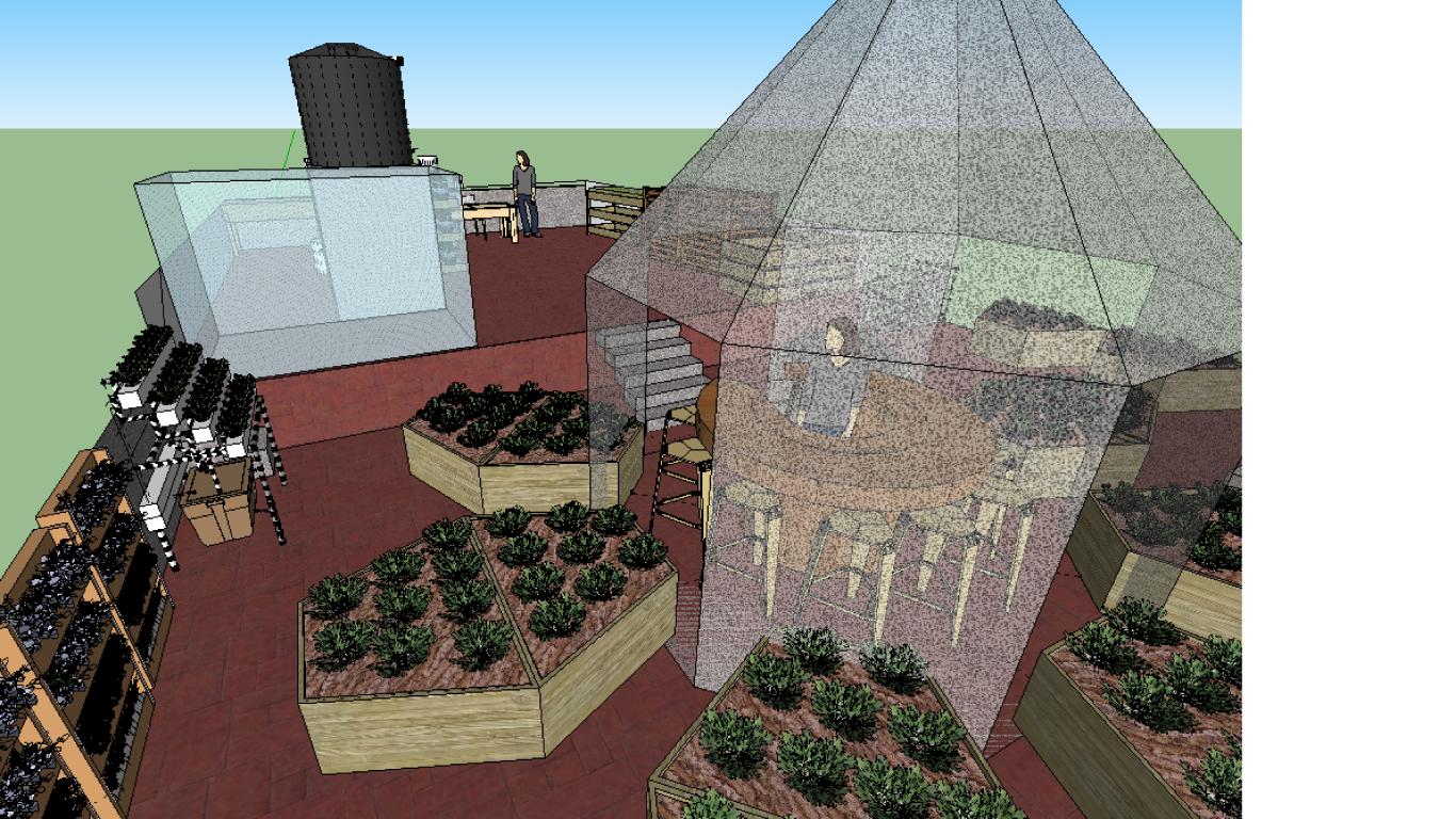 Detalle gazebo y camas de cultivo