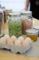 germinados y huevos orgánicos