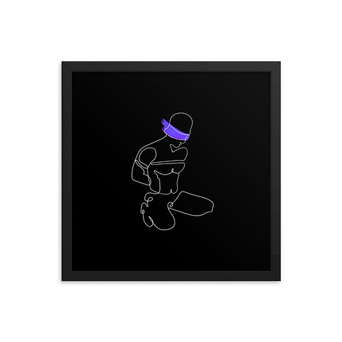 lonniedraws x blindfolded sub framed gallery art print with mat