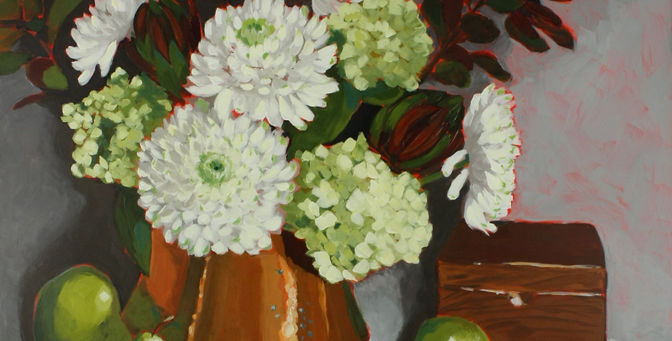 White Mums in Copper