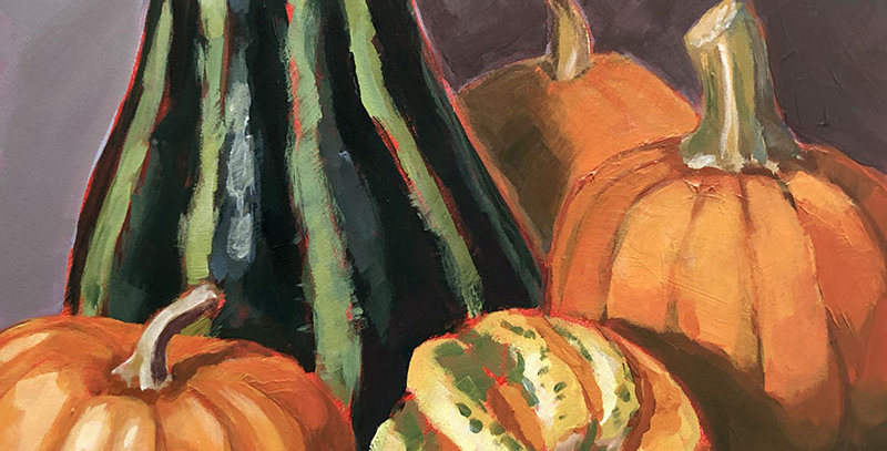 Striped Gourds and Pumpkins
