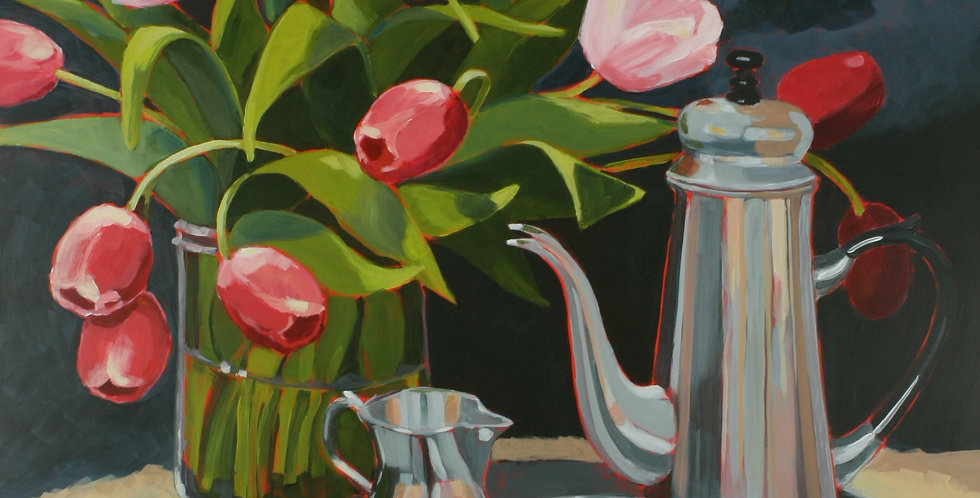 Pink Tulips and Silver