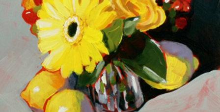 Yellow Gerbera Daisy, Roses and Lemons