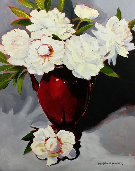 White Peonies in Red Vase