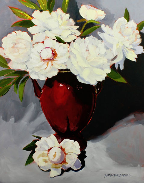 White-Peonies-and-Red-Vase-beth-kaylor-b