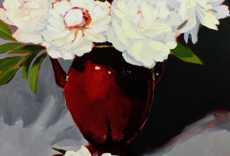 White Peonies in Red Vase
