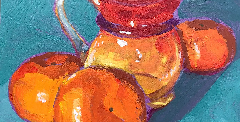 Glass Pitcher and Clementines