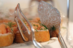 Smoked Salmon with Cream Cheese on Crostini