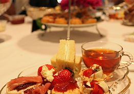 """Our Social Butterfly package includes our Afternoon Full Tea menu, serving pieces, hostess service for  two hours with Vintage Glass Snack Sets. Great for ladies """"on the move""""."""