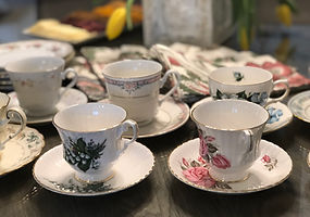 Tea service, mismatched china and vintage glass pieces available to add that spcial touch of elegance and whimsy to your tea party.