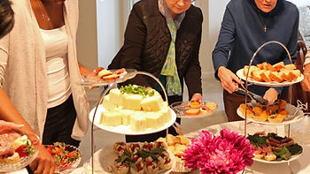 Guests using vintage snacks at buffet