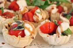 Mozzarella, Tomato and Basil in Phyllo Cups with Balsamic Glaze