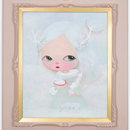 White1 deer with rose quartz 20201 Acrylic1 On Canvas, Wood Frame 92.1x810cm (Image.65.1×53cm)