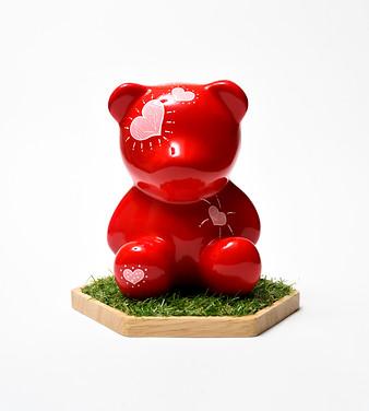 16. Lucky bear, 8x16x8cm, Acrylic on pol
