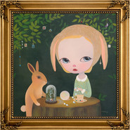 Moonstone by the Rabbit in the Woods 2020 Acrylic on Canvas Wood Frame 92x92cm (Image.72.7×72.7cm)