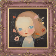 Sky S1quirrel with Pink Opal 20201 Acrylic On Canvas, 111Wood Frame 62x62cm (Image.45.15×45.5cm)