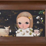 Cotton forest, sheep with pearls 2020 Acrylic on canvas, Wood Frame 54x35x4cm (Image.40x20cm)