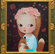 SeungYeon MOOn_Red fox's night_Acrylic on Canvas, Wood Frame_90.1x79.1x4cm_2020.jpg