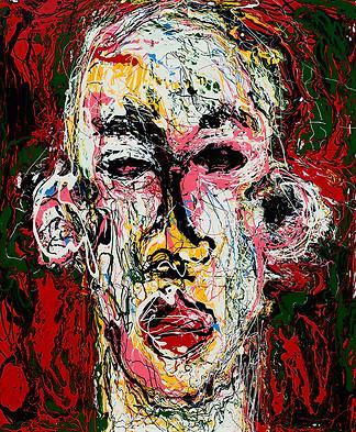 Kein Stress (face) enamel paint on canva