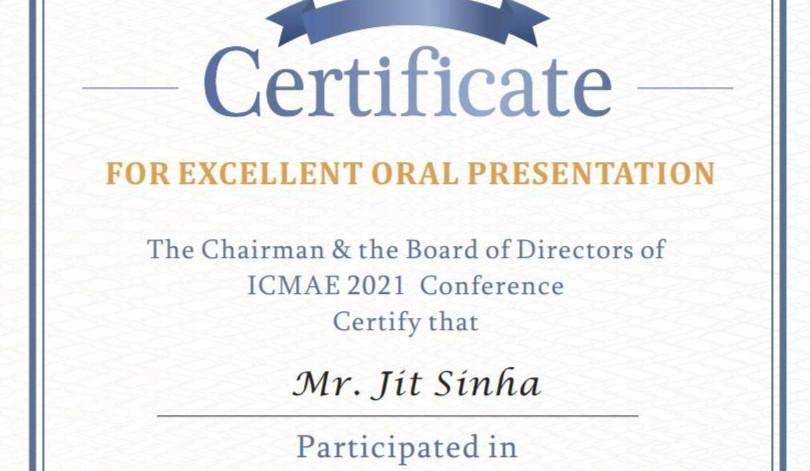 Best Oral Paper Presentation Award_ICMAE 2021