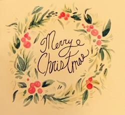 Merry Christmas Card (with wreathe)