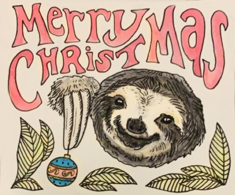 Merry Slothmas Card