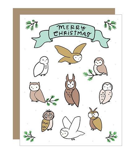 Christmas Owls Card (6 singles)