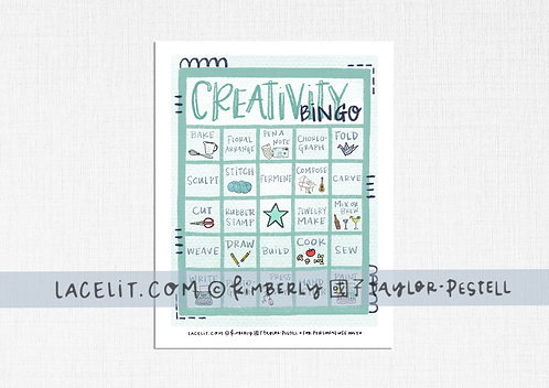 Creativity Bingo Game Sheet Printable Download