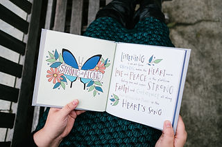 "Photo of ""Sage Words"" book cover, illustrated and hand-lettered by Kimberly."