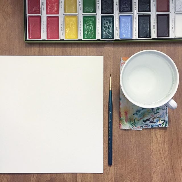 photo: Kimberly's studio table, blank canvas and watercolors