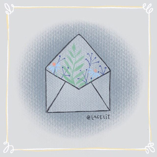 Snail Mail floral envelope illustration by Kimberly Taylor-Pestell