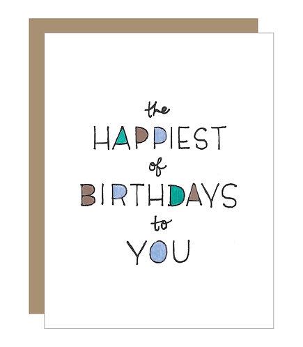Happiest of Birthdays (Blue) Card (6 Singles)