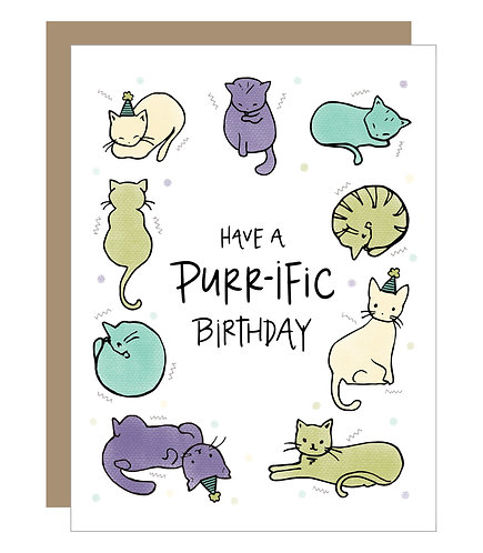 Purr-ific Birthday Card (6 Singles)