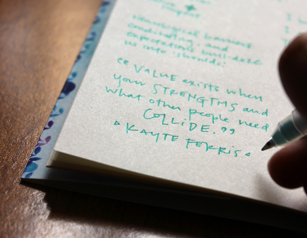"Photo: Kimberly writing a quote in her 'Little Clues"" notebook- ""Value exists when your strengths and what other people need collide."" - Kayte Ferris"