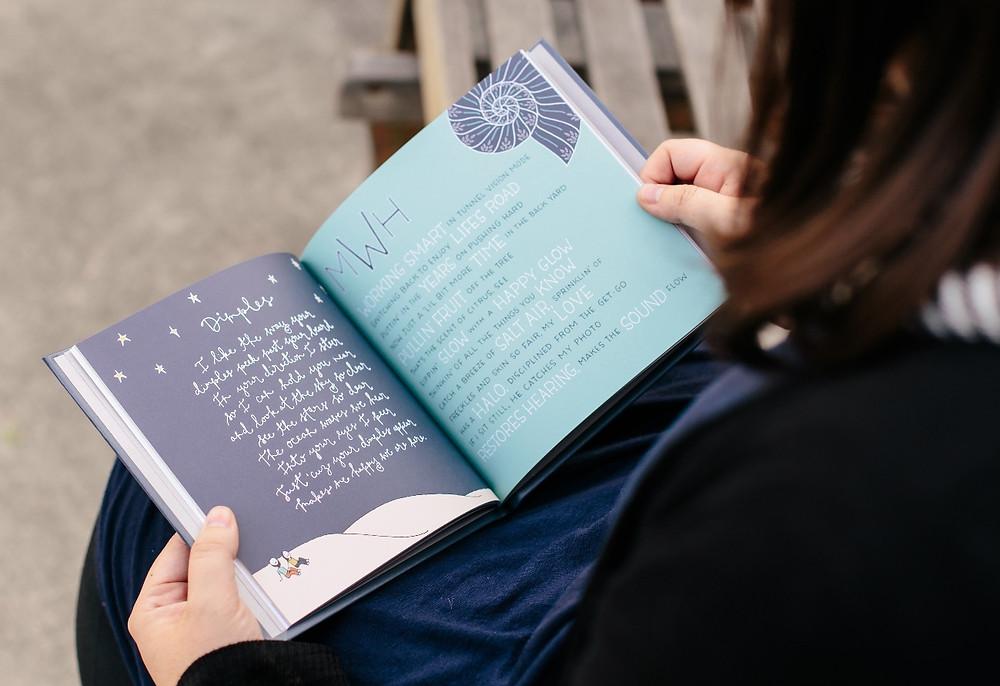 "Photo of Kimberly reading ""Sage Words"""