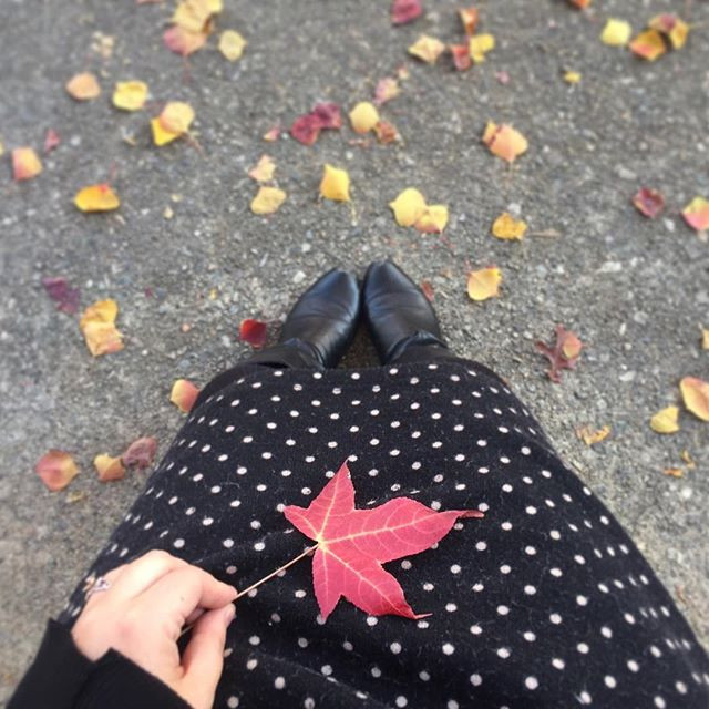 View of Kimberly's polka dotted dress and boots, with a bright red leave cradled in her lap and little leaves scattered on the pavement around her feet.